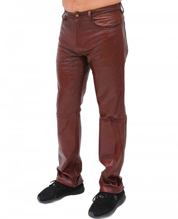 Brown-5-Pocket-Lambskin-Leather-Pants-for-Men