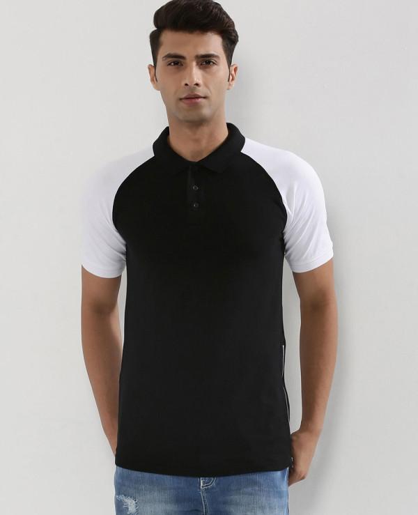 Contrast-Sleeve-Raglan-Polo-Shirt-With-Side-Zipper