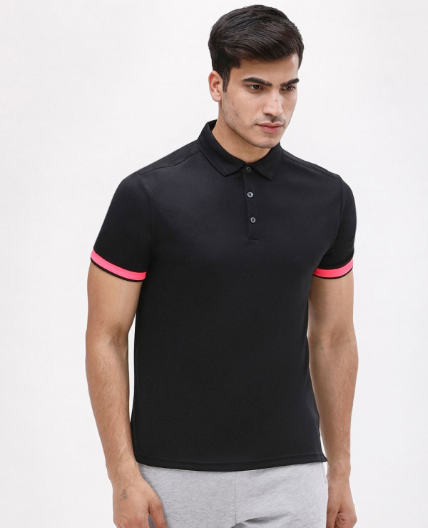 Contrast-Sleeve-Rib-Polo-T-Shirt