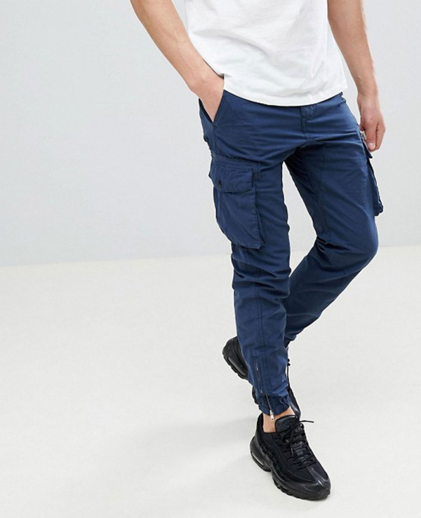 High-Quality-Men-Cargo-Trousers-In-Blue