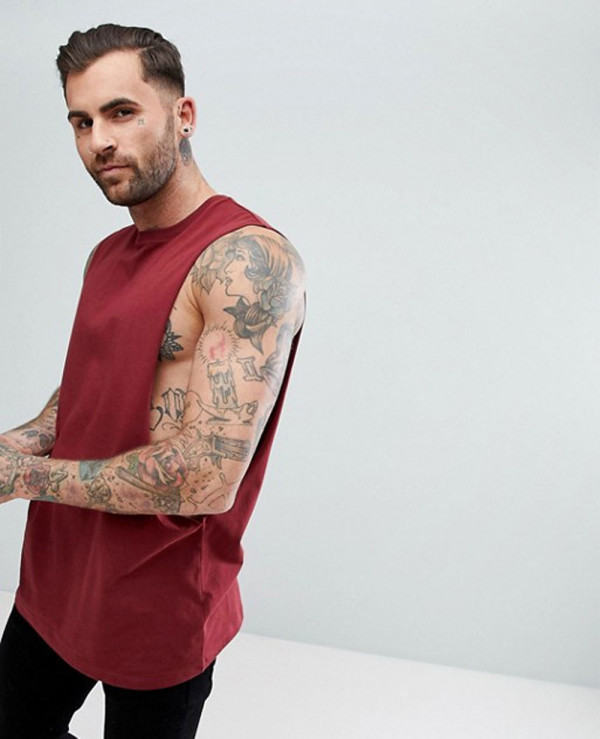 Longline-Vest-With-Extreme-Dropped-Armhole-In-Red-Tank-Top