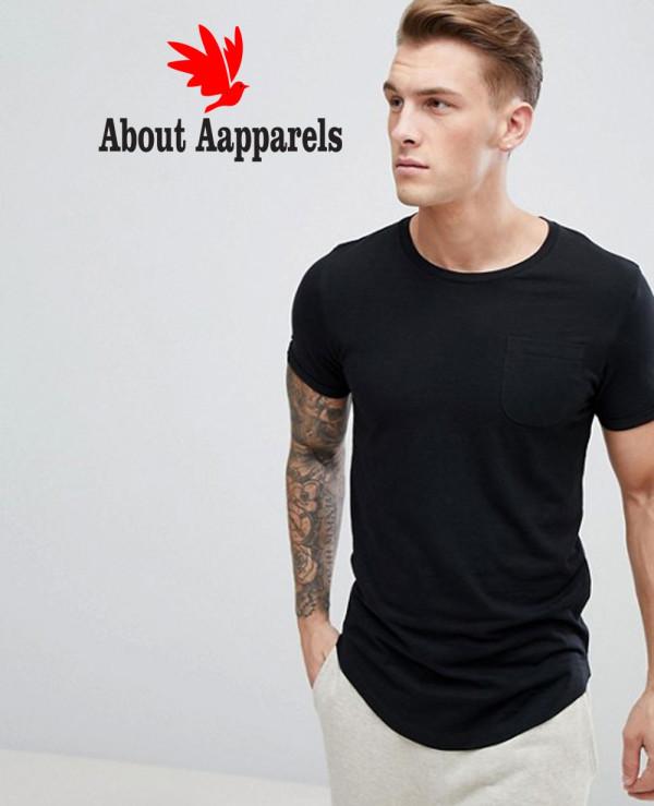 Men-Black-Longline-With-Curved-Hem-T-Shirt