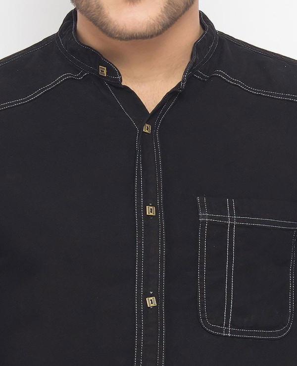Men-Black-Super-Soft-Tencel-Denim-Shirt-with-Brass-Buttons