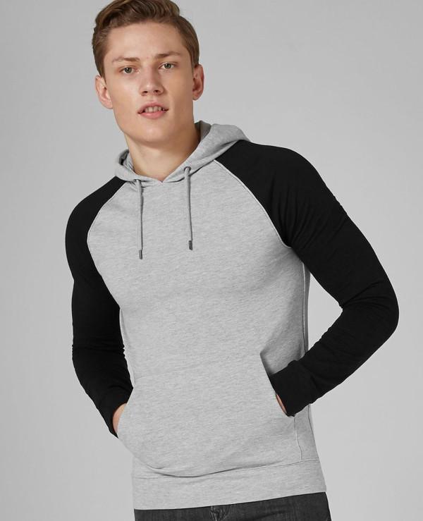 Men-Grey-And-Black-Raglan-Muscle-Hoodie