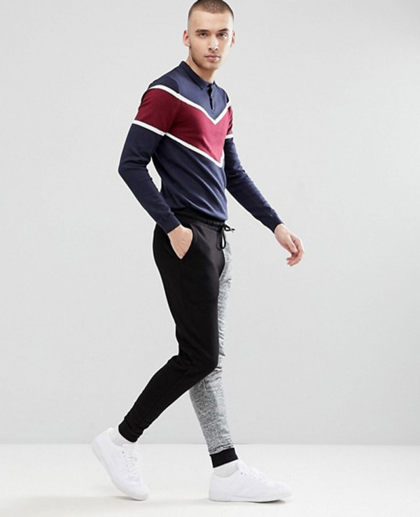 Men-Knitted-Polo-With-Chevron-Design-Polo-Shirt