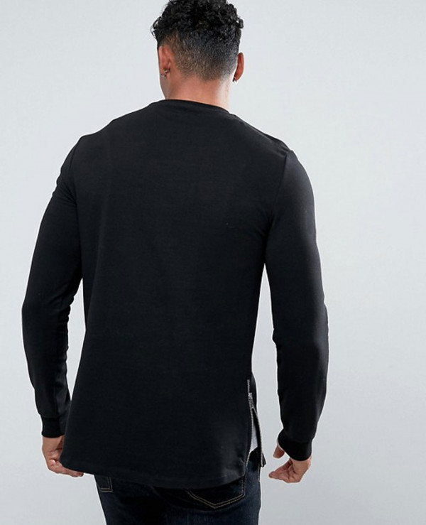 Men-Longline-Muscle-Fit-Sweatshirt-With-Curved-Hem-And-Side-Zipper-in-Black