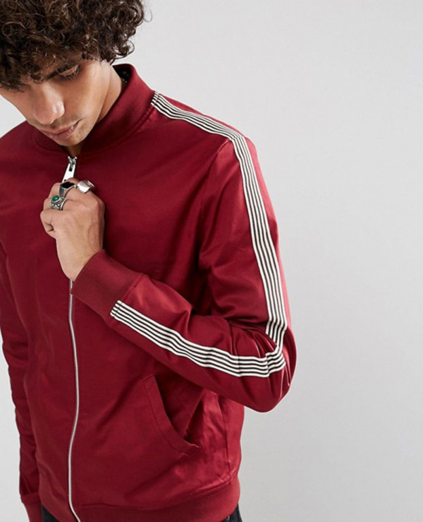 b63b01e66 Muscle Fit Bomber Jacket With Side Stripe in Red Wholesale ...