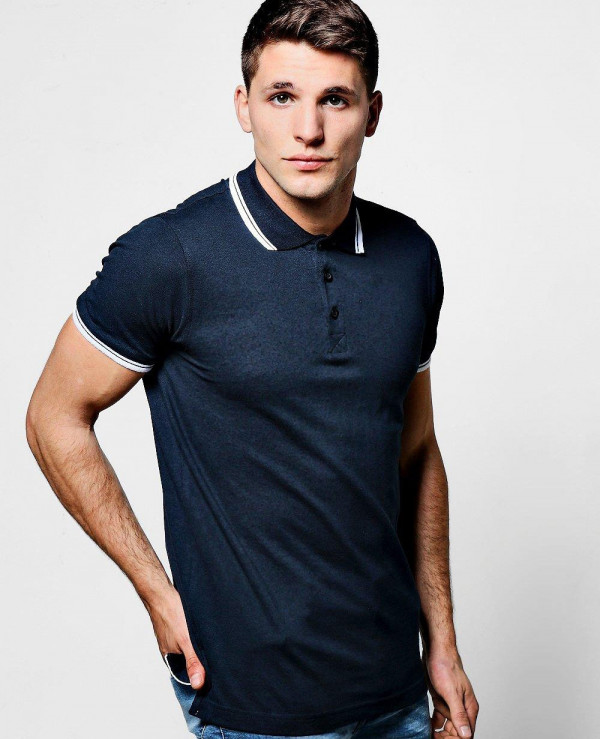 f6099db54 Navy Blue Short Sleeve Pique Polo With Tipping Detail Wholesale ...