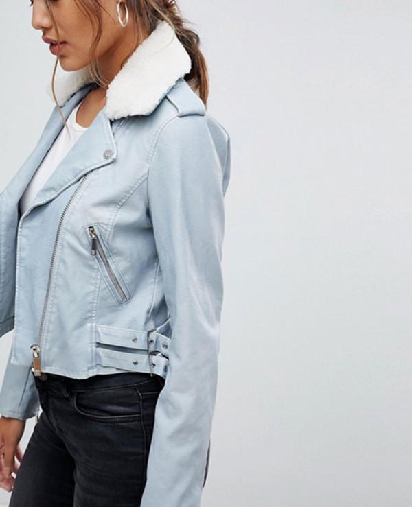 New-Custom-Made-Fur-PU-Biker-Jacket