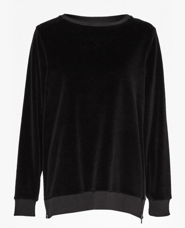 New-Fashionable-Side-Split-Zipper-Black-Sweatshirt