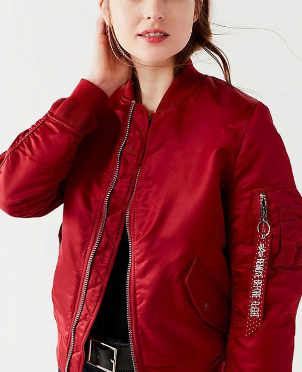 291688683 New Look Women Burgundy Satin Bomber Varsity Jacket Wholesale ...