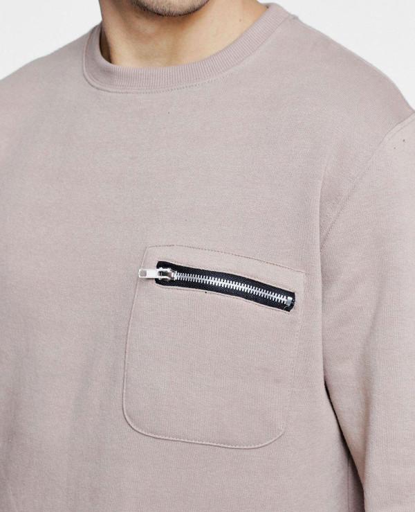 Only-Zipper-Pocket-Detail-Crew-Neck-Sweater-Sweatshirt