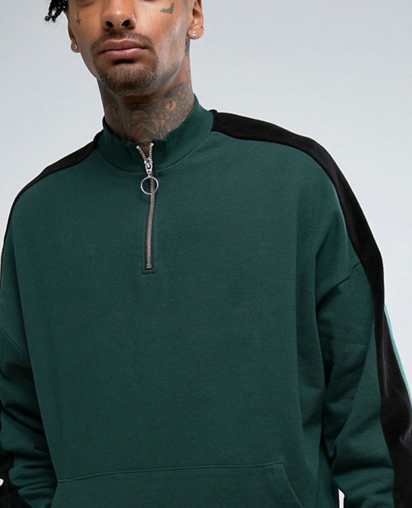 Oversized-Sweatshirt-With-Funnel-Neck-And-Slogan-Print
