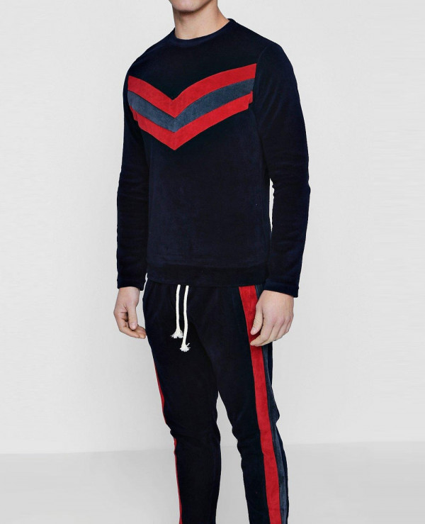 Pullover-Velour-Panelled-Skinny-Fit-Sweater-Tracksuit