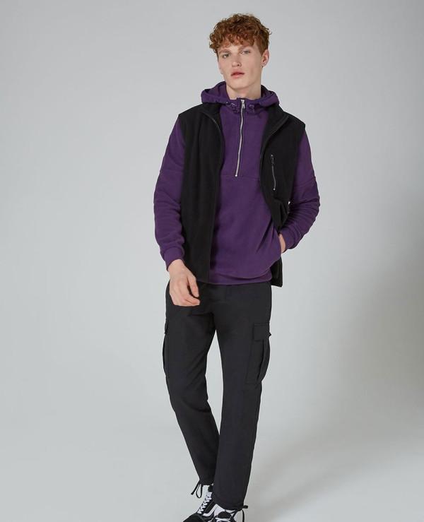 Purple-Fleece-Zip-Neck-Hoodie