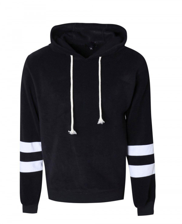 Stripe-Sleeve-Fleece-Pullover-Black-Hoodie