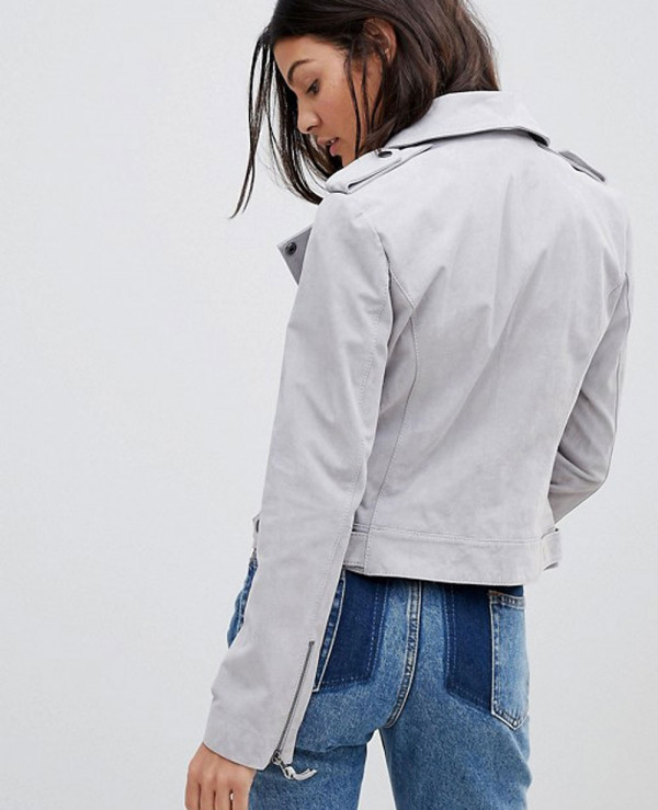 Women-Grey-High-Quality-Suede-Biker-Jacket