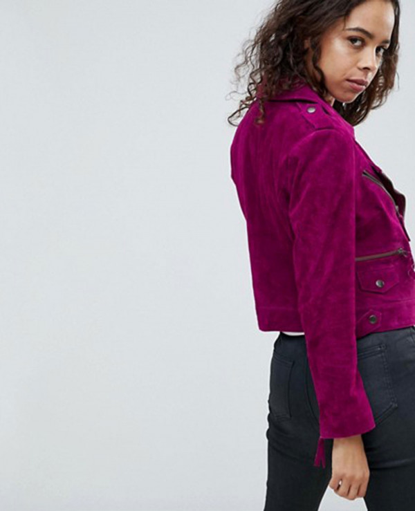 Women-Moto-Biker-Suede-Leather-Jacket